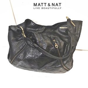 MATT & NAT Vegan Suede Metallic Satchel